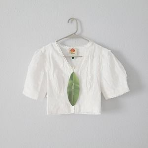 Farm Rio White Floral Embroidered Crop Top